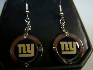 NFL NEW YORK GIANTS TEAM LOGO DROP DANGLING EARRINGS WITH FISH HOOKS & CRYSTALS