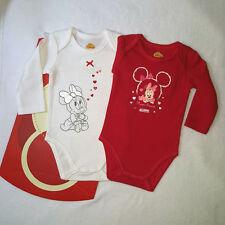 DISNEY BABY lot de 2 bodies MINNIE noel noël rouge et blanc 6 mois NEUF