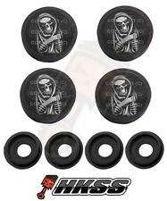 4 Black Custom License Plate Frame Tag Screw Cap Covers - REAPER SKULL BW ACI