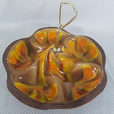 California Pottery USA MCM Nut Candy Dish Brown Orange Wood Grain 1970s
