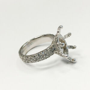 14K WHITE GOLD FANCY MARQUISE RING MOUNTING W/ DIAMONDS 1.66CTW 7US