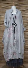 LAGENLOOK LINEN OVERSIZE AMAZING 2 PCS FLORAL DRESS+LONG JACKET***GREY***XL-XXL