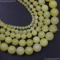 "Natural Gemstone Lemon Jade Round Spacer Loose Beads 4mm 6mm 8mm 10mm 12mm 15.5"""