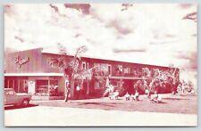 St Petersburg Beach Florida~El Jomar Hotel Apartments~Guests on Lawn~1950s Car