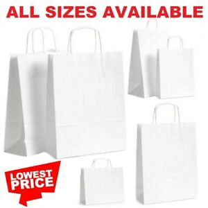 White Paper Bags With Handles Large Small 100 50 10 Party Gift Sweet Carrier Sos