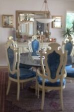 "SOLID GRANITE BLUE PEARL CUSTOM 60"" ROUND TABLE TOP DINING SET WITH 6 CHAIRS"
