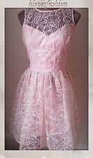 🌸LIPSY Organza🌟VIP🌟Embroidered Nude Pink Dress UK 14 EU 42 Prom Brides🌸👑