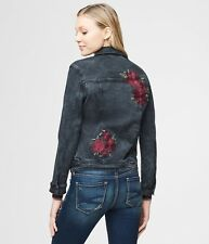 Aeropostale Jacket Women's Embroidered Stretch Denim Jacket XS Black Wash NWT