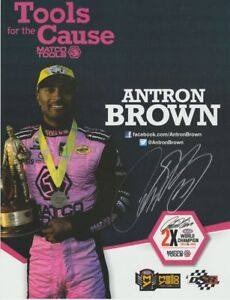 """2016 Antron Brown signed """"Pink"""" Matco Tools For The Cause Top Fuel NHRA postcard"""