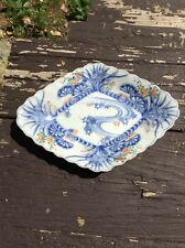 Rare Antique 19th Century Chinese Footed Dish Blue And White Character Mark