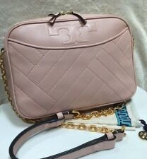 EUC TORY BURCH $498 ALEXA PINK QUILTED LEATHER GOLD CHAIN CAMERA CROSSBODY BAG
