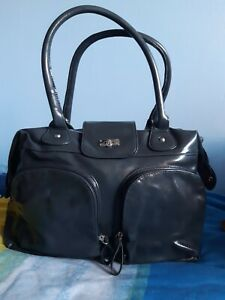 Lovely Grey Mock Patent Handbag By Avon With Zip Pockets And Closure