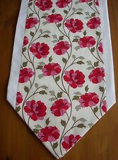 TABLE RUNNER PINK RED IVORY FLORAL FULLY LINED HOMEMADE 135CM MOTHERS DAY GIFT