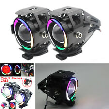 Motorcycle 125W CREE U7 LED Driving Headlight Fog Lamp Spot light+3 Wires Switch