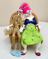 Usa-Made Ooak Paper Mache Dolls Featuring Old Couple in Love on Park Bench