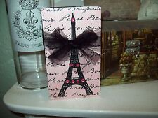 Shabby Paris chic decor pink black Eiffel Tower block sign shelf sitter French