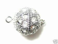 6 10mm Swarovski Rhinestone Rhodium/Crystal  Magnet Necklace Clasps  - K51Rmag