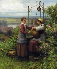 Huge beautiful Oil painting Young girls in Spring season - The Conversation