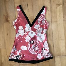 New with Tags Oasis Coral Floral Print Pure Silk Top Size 8 Spring Summer