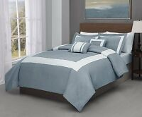100/% Polyester Microfiber 5PC Blue Ivory Stripe Comforter Set Bed Cover-4 Sizes