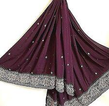 "Jewel Metallic Gold ZARI DOZI Elegant Evening Purple Scarf Shawl Wrap 40 x 84"""