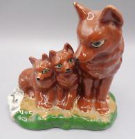 Vintage Hand Painted Ceramic Bisque Pottery Fox Mother & Pups Sculpture Figurine