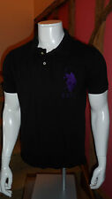 Small Black Short Sleeve Polo Shirt with Purple Detailing by US Polo Assn