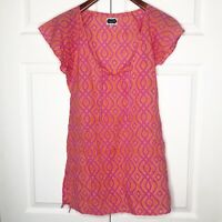 Mud Pie Women's Peasant Top Blouse Size Small S Cap Sleeves Pink And Orange