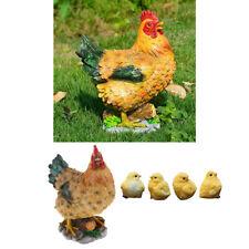 Lifelike Resin Chick & Hen Collectible Animal Figurine Statue Garden Decor