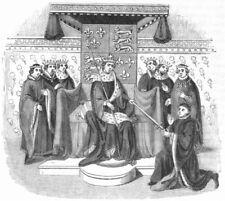KINGS. Henry VI & Ct John Talbot receiving Sword 1845 old antique print