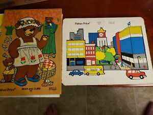 Vintage Wood Fisher Price Puzzle Bear & Cubs 506 & CITY - #557 - 12 pieces.