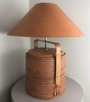 Vintage Mid Century Asian Tiki Modern 1980s Rice Steamer Basket Rattan Lamp