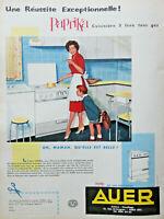 PUBLICITÉ 1959 AUER CUISINIÈRE PAPRIKA 3 FEUX GAZ DESSINÉE PAR RAYMOND LOEWY