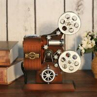 Retro Wood Metal Projector Model Music Box Antique Musical Jewelry Box Gift BEST