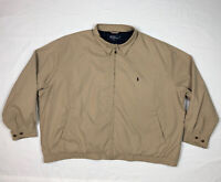 Vtg Polo Ralph Lauren Mens Harrington Jacket 4X Big Tan/Beige Plaid Lined
