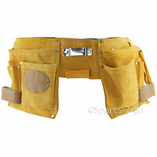 11 Pocket Double Tool Belt Leather Nails Pouch DIY Carpenter Roofing Holster