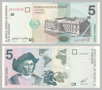 El Salvador 5 Colones 1998 p147b unz.