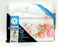 New Vintage Penn-Prest Twin Flat Sheet White Pink Roses Penneys Fashion Manor