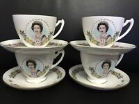 Vintage! Rare! New! Queen Elizabeth II 60th Birthday Cups & Saucers. Set Of 4.