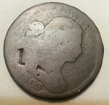 1 countermark twice trade token host 1803 draped bust large cent counterstamp