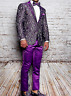 Men Insomnia Manzini Blazer Stage Performer Singer Prom MZN137 Purple Lace Style