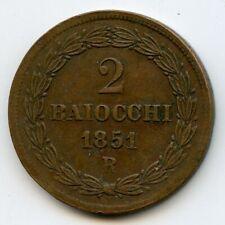 Vatican Pie IX 2 Baiocchi 1851 R Rome An VI