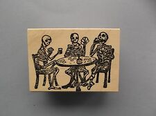 100 PROOF PRESS RUBBER STAMPS SKELETONS PLAY CARDS NEW wood STAMP