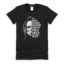 Mens Halloween T Shirt Social Distancing Funny Horror Movie Inspired Tee for Him