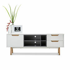 WHITE GREY Scandinavian Retro Entertainment TV Unit Cabinet Storage w Oak Legs