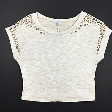 Charlotte Russe Womens Top Size Small Short Sleeve Sweater Embellished Shoulders