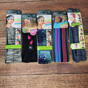 5 Scunci Everyday & Active Headband Workout Black Hot Pink Reversible Headwrap