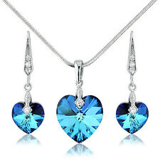 PRETTY OCEAN BLUE HEART NECKLACE SWAROVSKI CRYSTAL ELEMENTS JEWELLERY SET UK