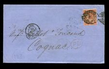 Gb Qv 1864 London Twin 46 Cancel 4d Sg81 Ch to Cognac.cv £250