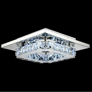 Modern Chandelier Crystal Squre LED Ceiling Light Fixture Pendant Hanging Lamp